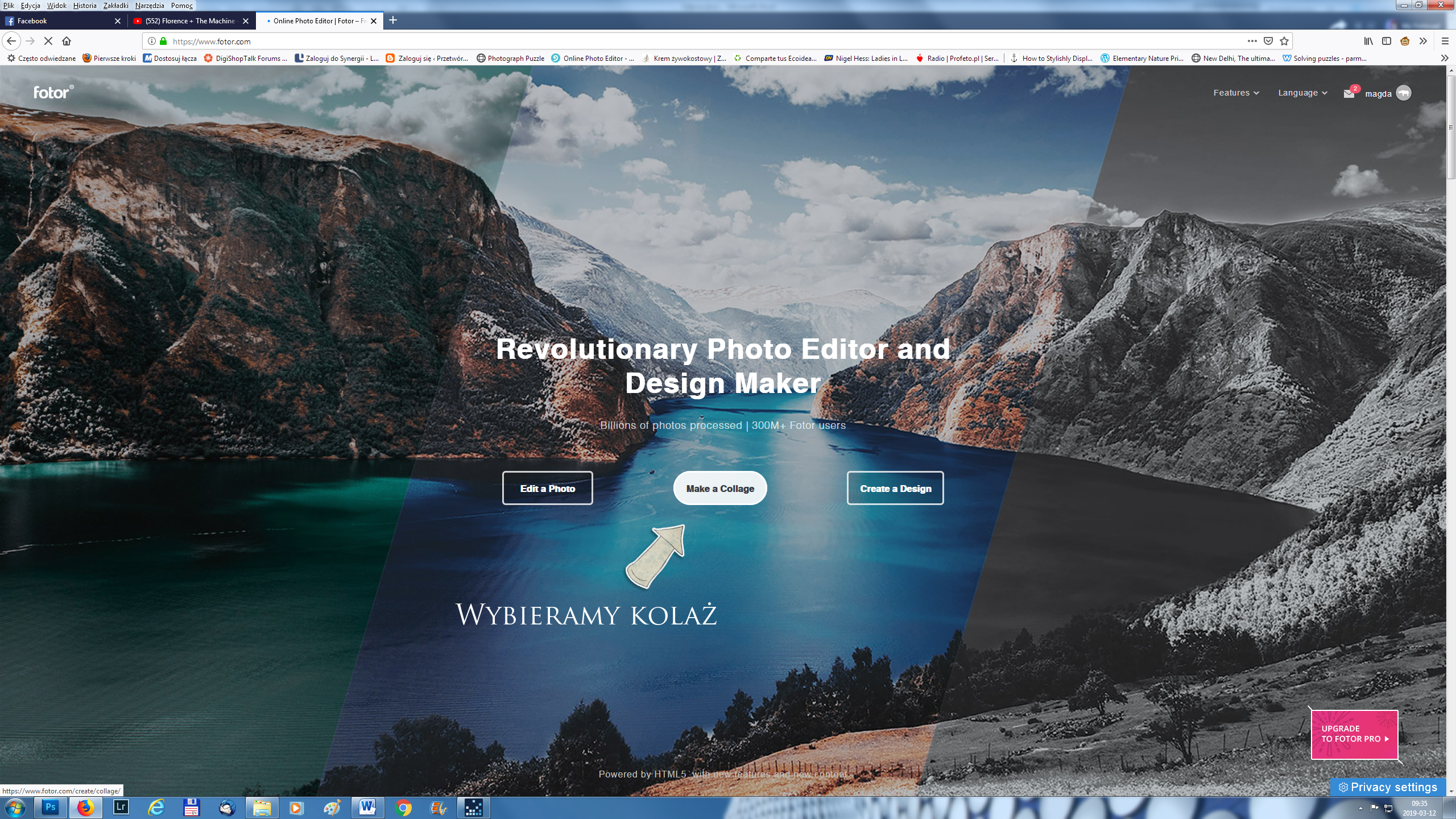 interface programu fotor