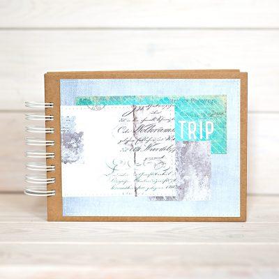 album na zdjecia 15cmx21cm okladka z napisem trip album na zdjecia z podrozy