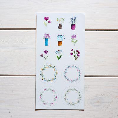 naklejki kwiaty i wieńce