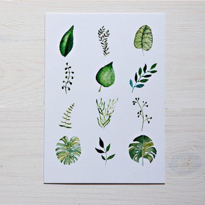 pocztówka a6 botaniczny wzor liście