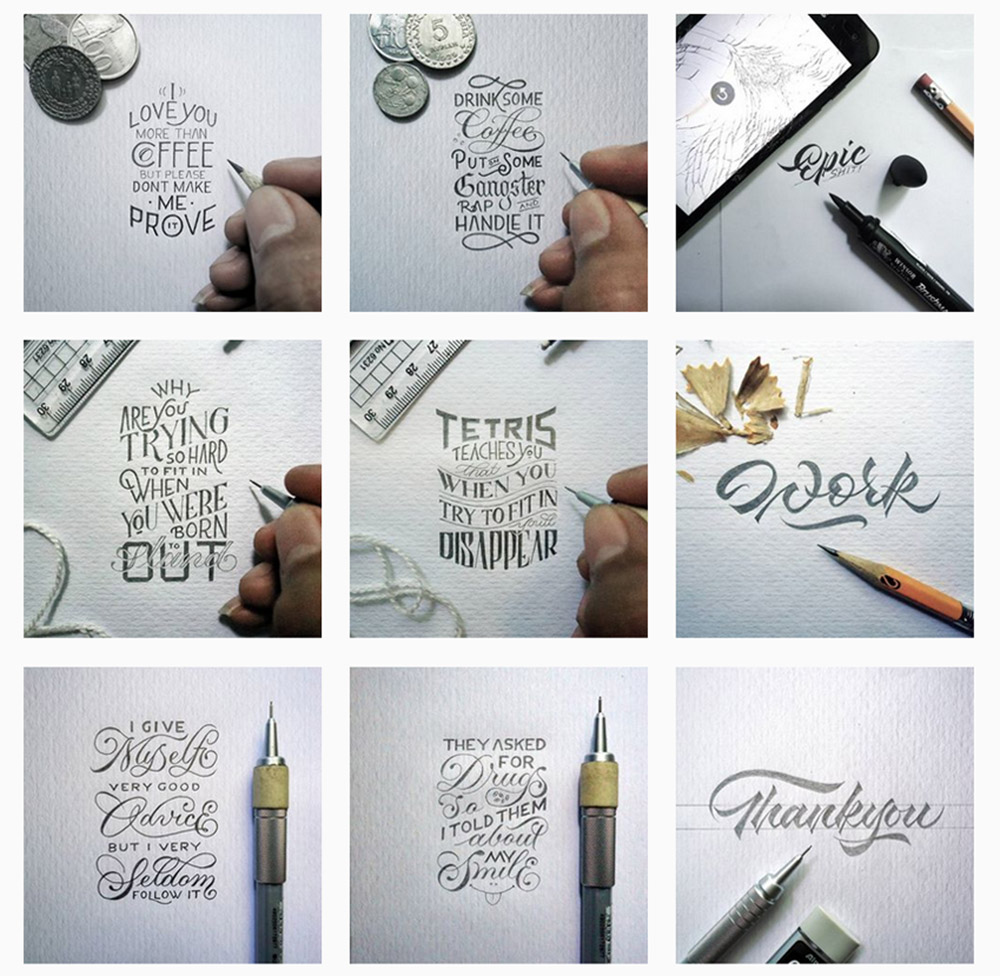 dexa muamar instagram photo gird calligraphy handlettering