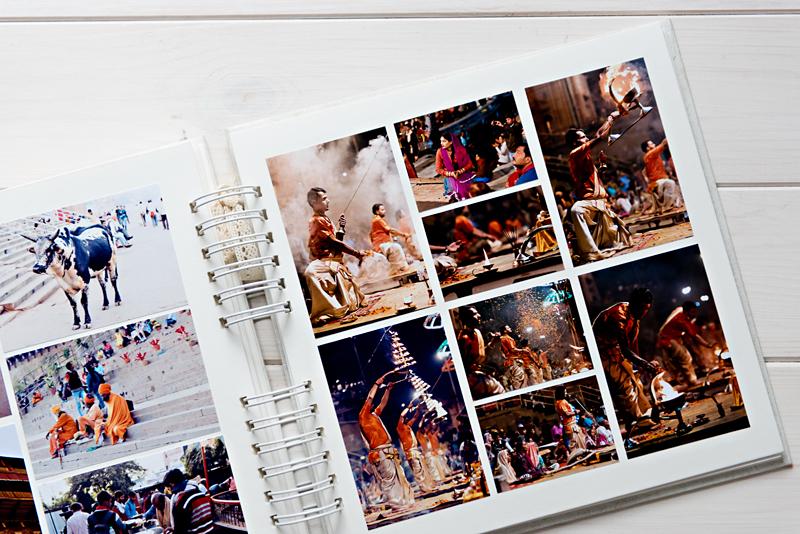 Album z kolażem zdjęć z podrózy do Indii