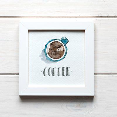 ilustracja akwarela z napisem coffe i filiżanką kawy
