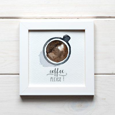 ilustracja akwarela z napisem coffe please i filiżanką kawy