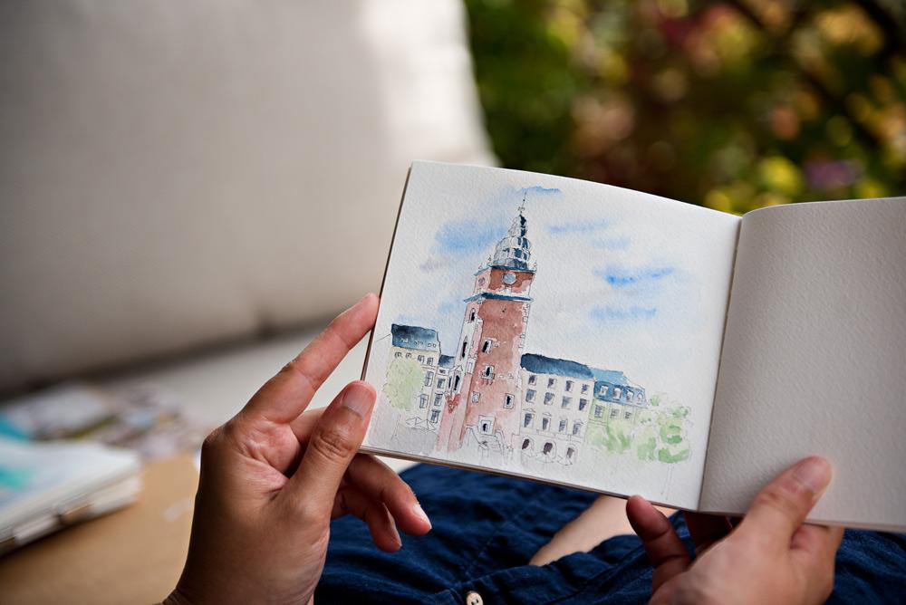 Ratusz Krakowa urban sketching